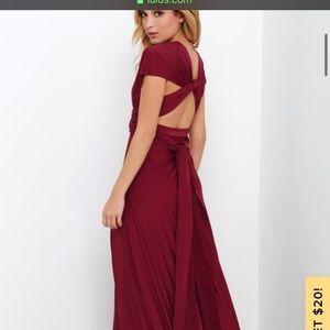 Lulus Convertible Burgundy Maxi Dress